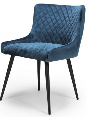 Vienna Cobalt Blue Brushed Velvet Contemporary Dining Chair