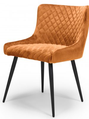 Vienna Orange Brushed Velvet Contemporary Dining Chair