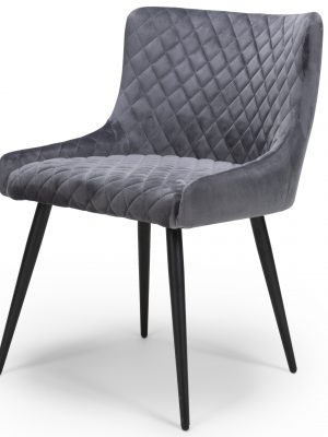 Vienna Luna Grey Brushed Velvet Contemporary Dining Chair