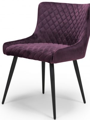 Vienna Purple Brushed Velvet Contemporary Dining Chair