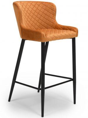 Vienna Orange Brushed Velvet Contemporary Bar Stool