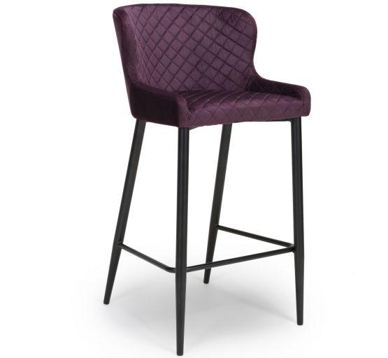 Vienna Purple velvet bar stool