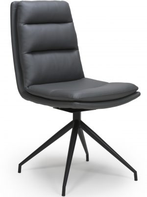 Dallas Grey Leather Contemporary Swivel Chair Leather - Black Legs