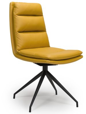 Dallas Yellow Leather Contemporary Swivel Chair Leather - Black Legs