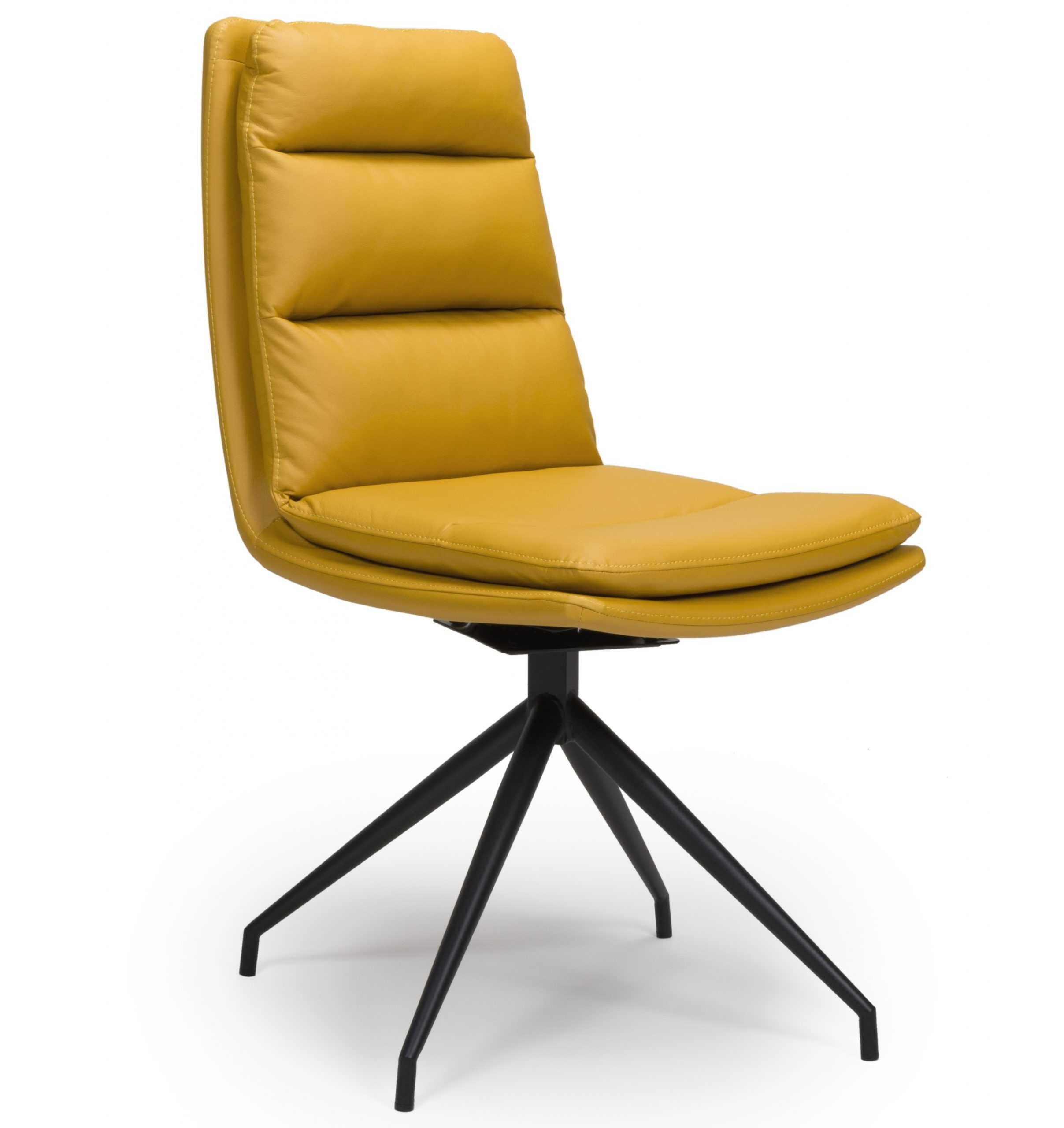 Dallas Yellow Leather Swivel dining chair
