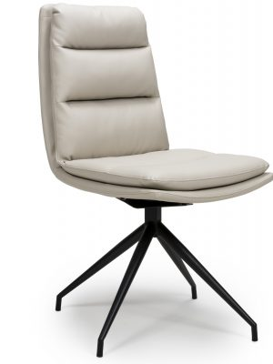 Dallas Taupe Leather Contemporary Swivel Chair Leather - Black Legs
