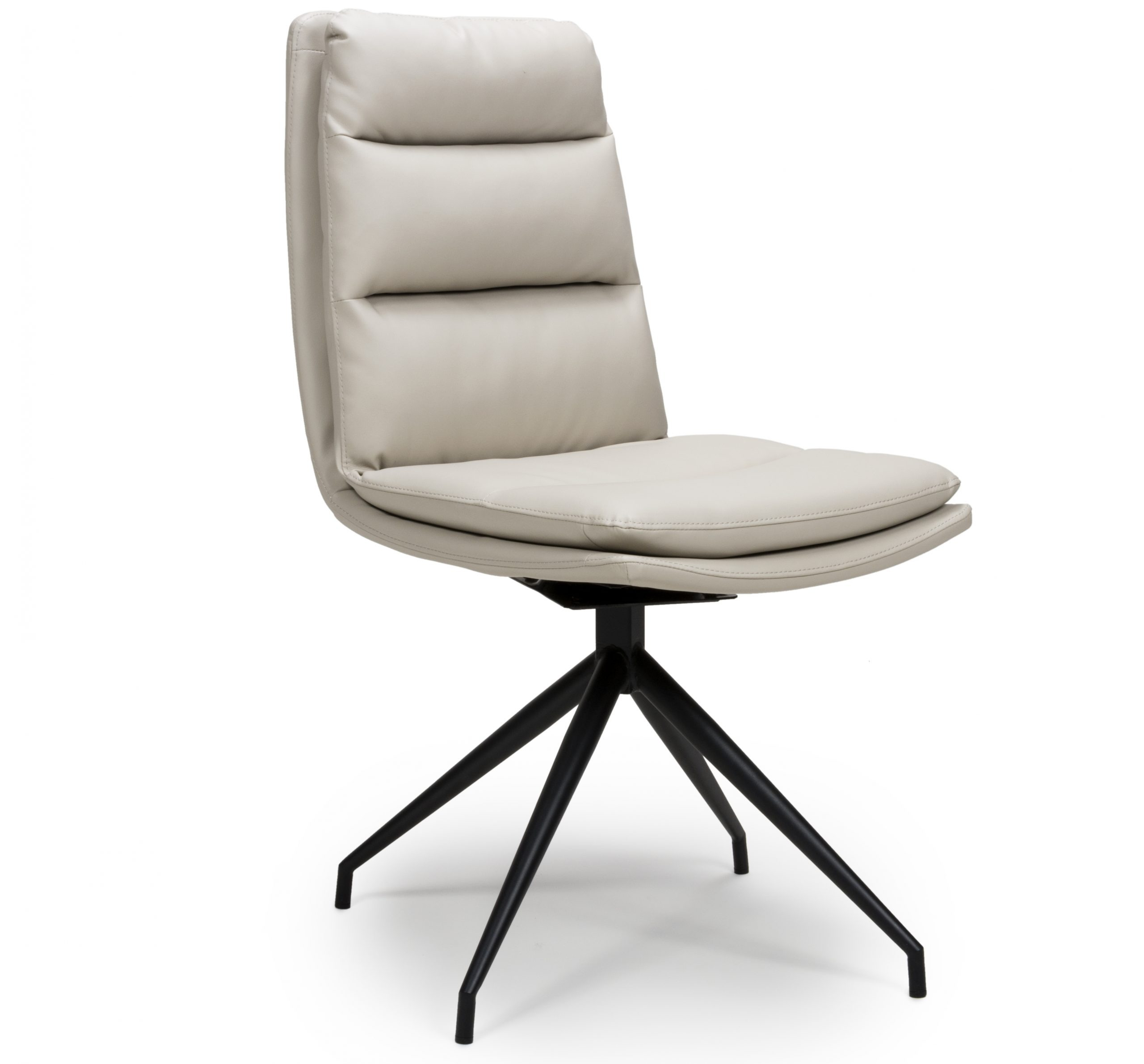 Dallas Taupe leather swivel dining chair
