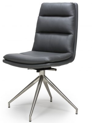 Dallas Grey Leather Contemporary Swivel Chair Leather - Steel Legs