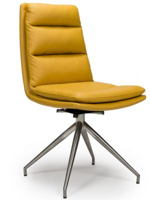 Dallas Yellow Leather Contemporary Swivel Chair Leather - Steel Legs