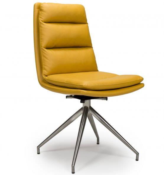 Dallas yellow leather swivel chair with steel legs