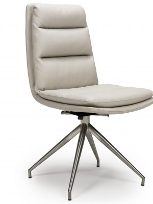Dallas Taupe Leather Contemporary Swivel Chair Leather - Steel Legs