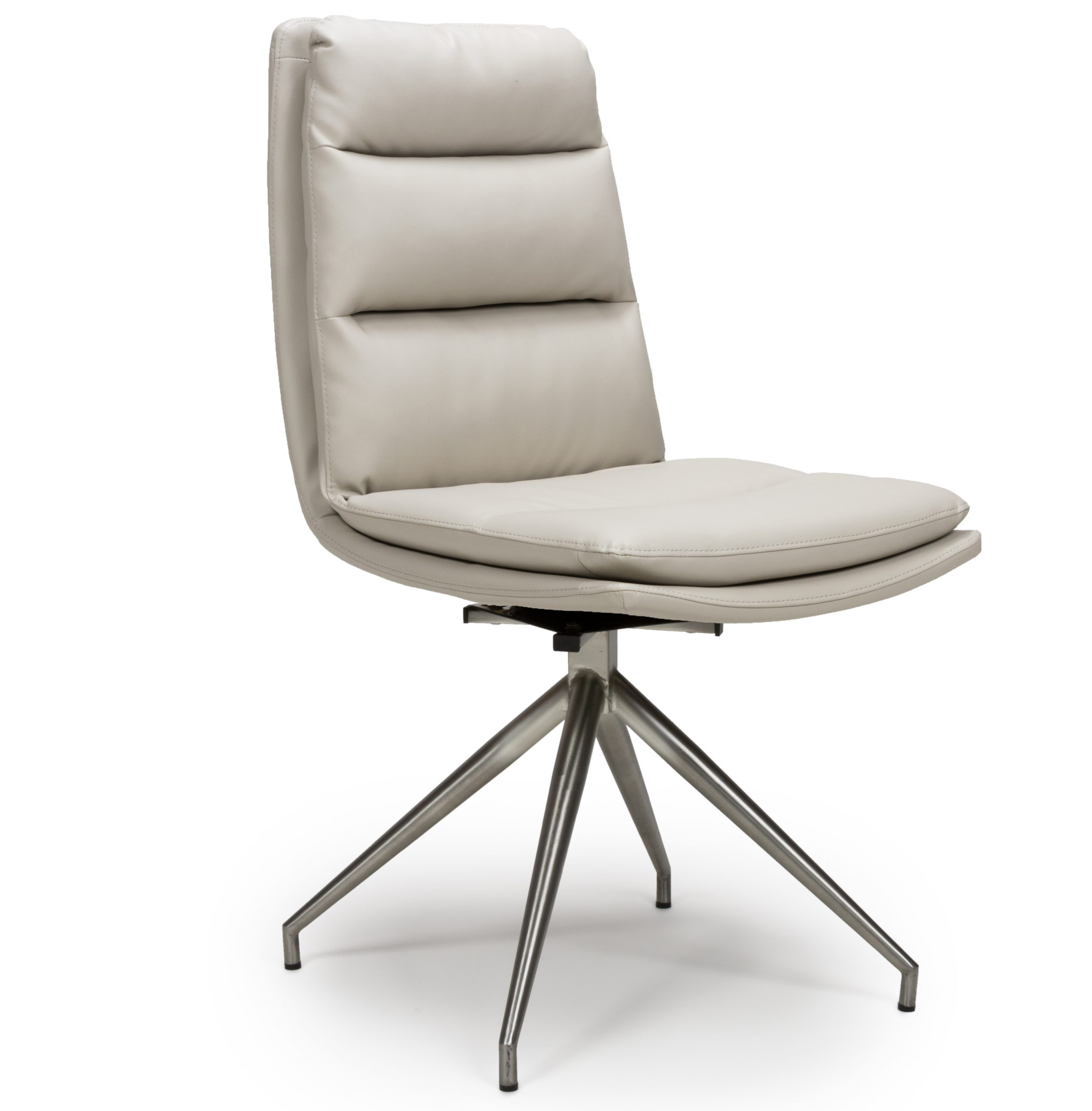 Dallas Taupe Leather Swivel Dining chair Steel Legs