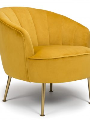Newport Mustard Yellow Velvet Quilted Back Tub Chair - Gold Legs