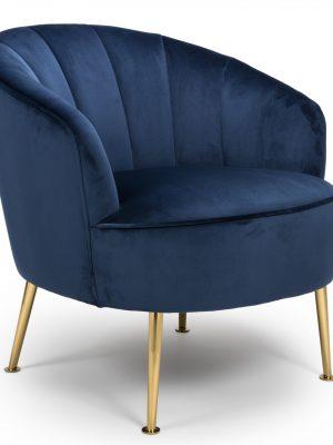 Newport Navy Blue Velvet Quilted Back Tub Chair - Gold Legs