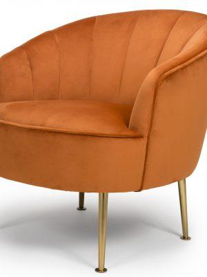 Newport Orange Velvet Quilted Back Tub Chair - Gold Legs