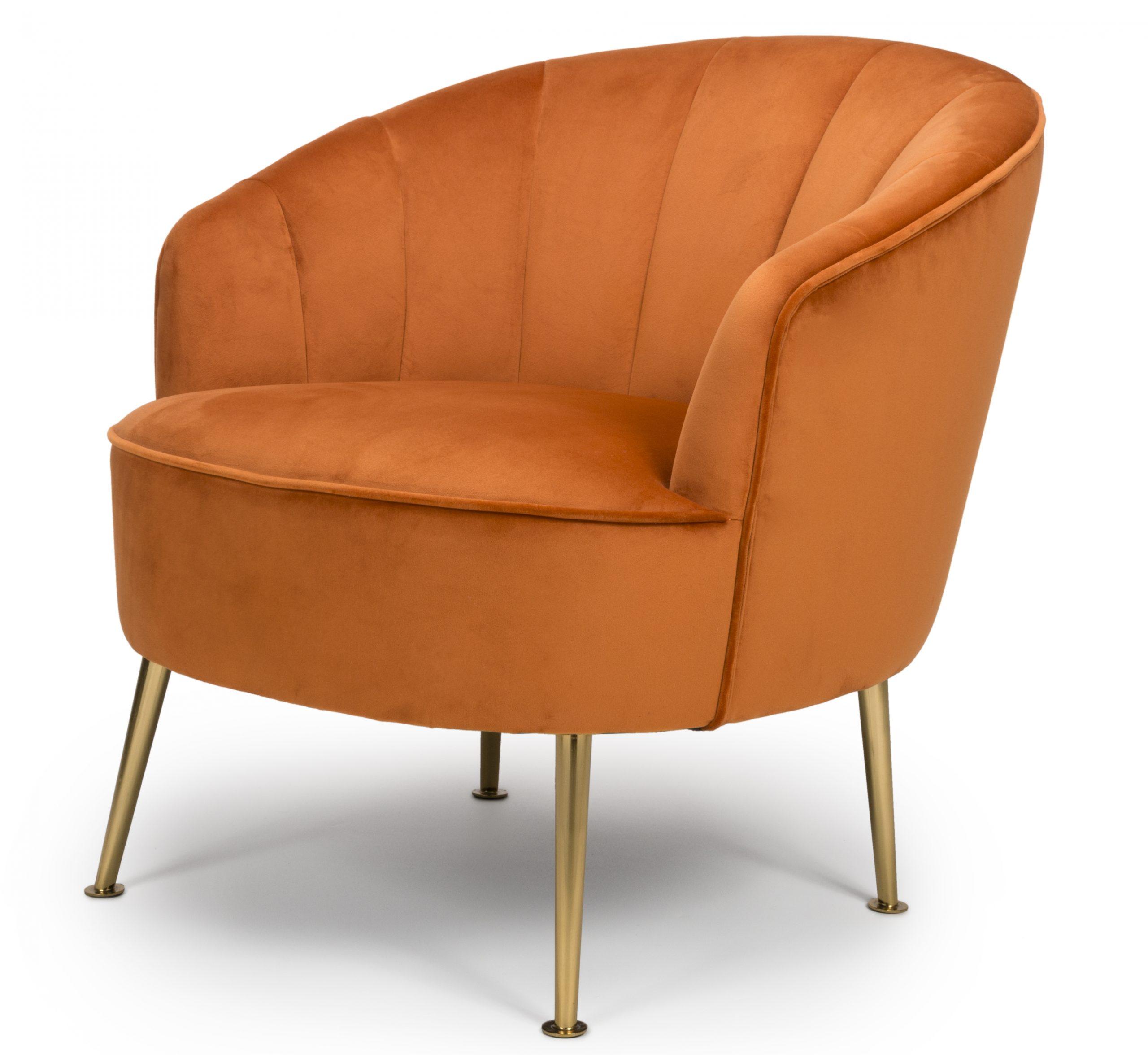 Newport Orange Velvet Lounge Tub Chair