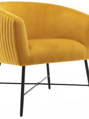 Gwent Mustard Yellow Velvet Quilted Back Tub Chair