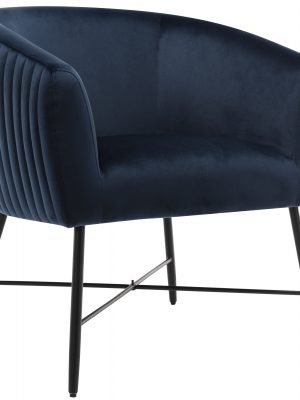 Gwent Navy Blue Velvet Quilted Back Tub Chair