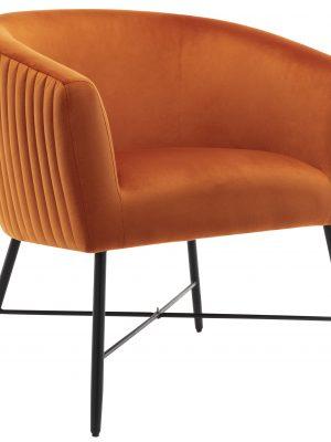 Gwent Burnt Orange Velvet Quilted Back Tub Chair