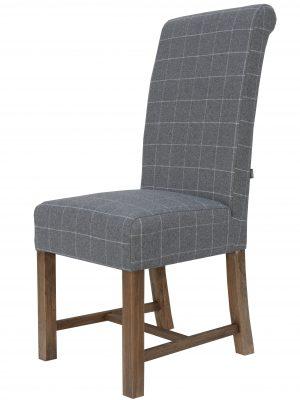 Argyle Grey Tartan & Oak Farmhouse Dining Chair