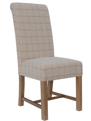 Argyle Cream Tartan & Oak Farmhouse Dining Chair