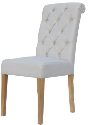 Bethany Button Back Natural Cream Herringbone Dining Chair