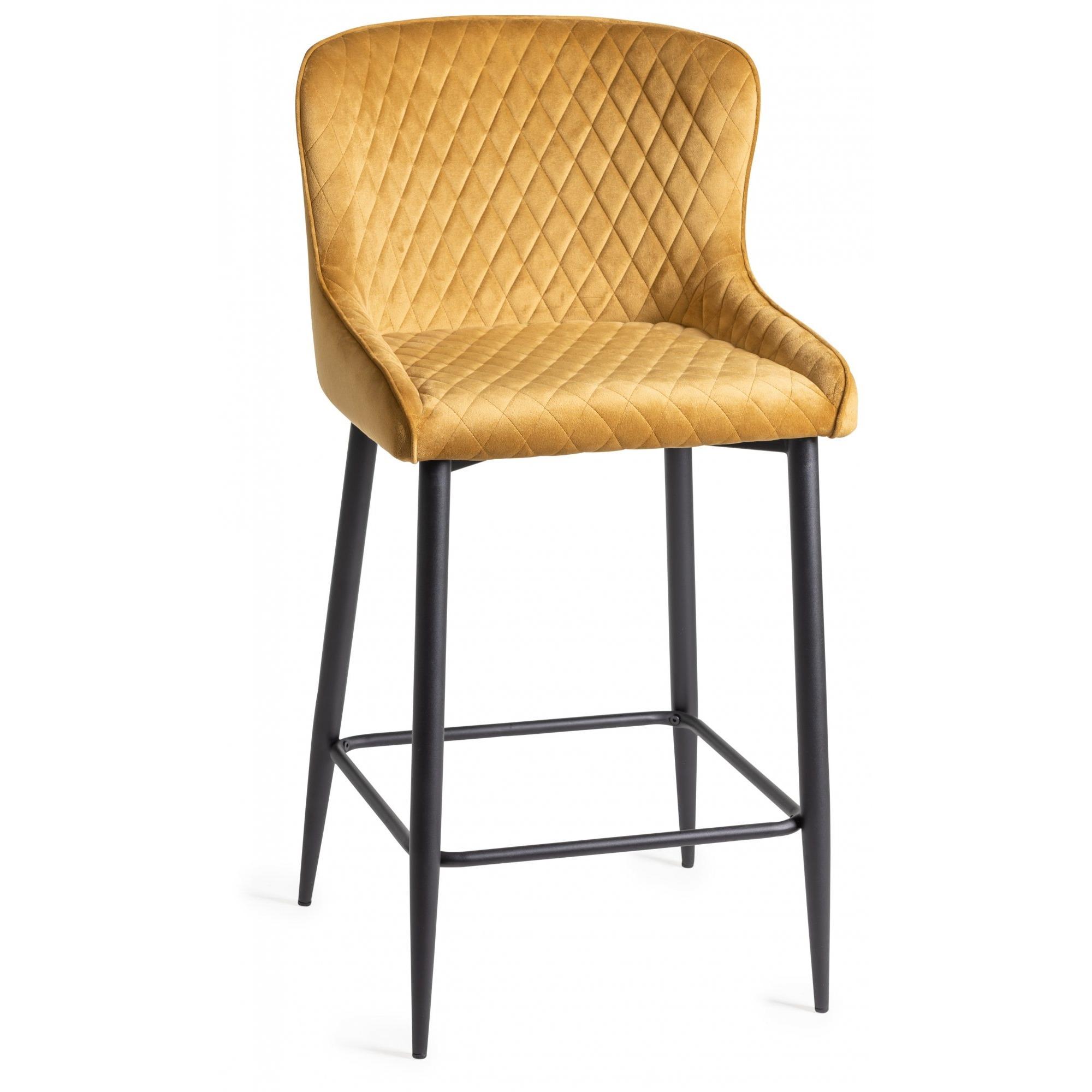 sophia mustard velvet bar stool