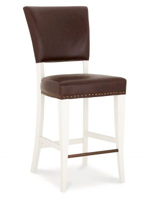 Lisbon Ivory Painted Bar stool in Rustic Brown Leather