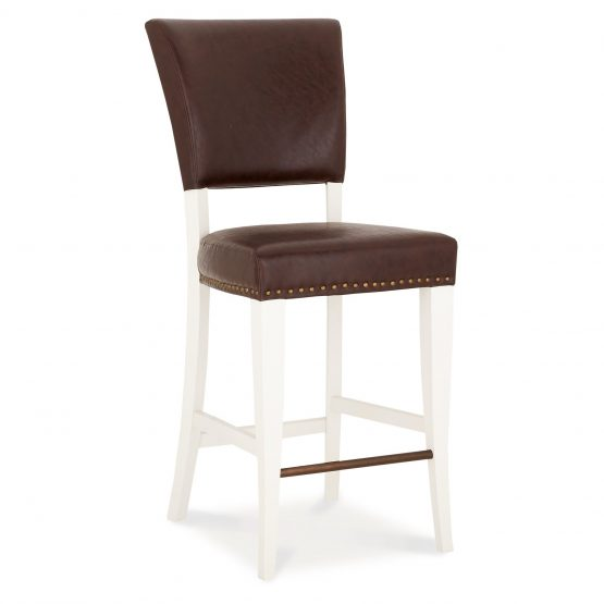 Lisbon ivory painted and brown leather bar stool