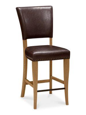 Lisbon Rustic Oak Bar stool in Rustic Brown Leather