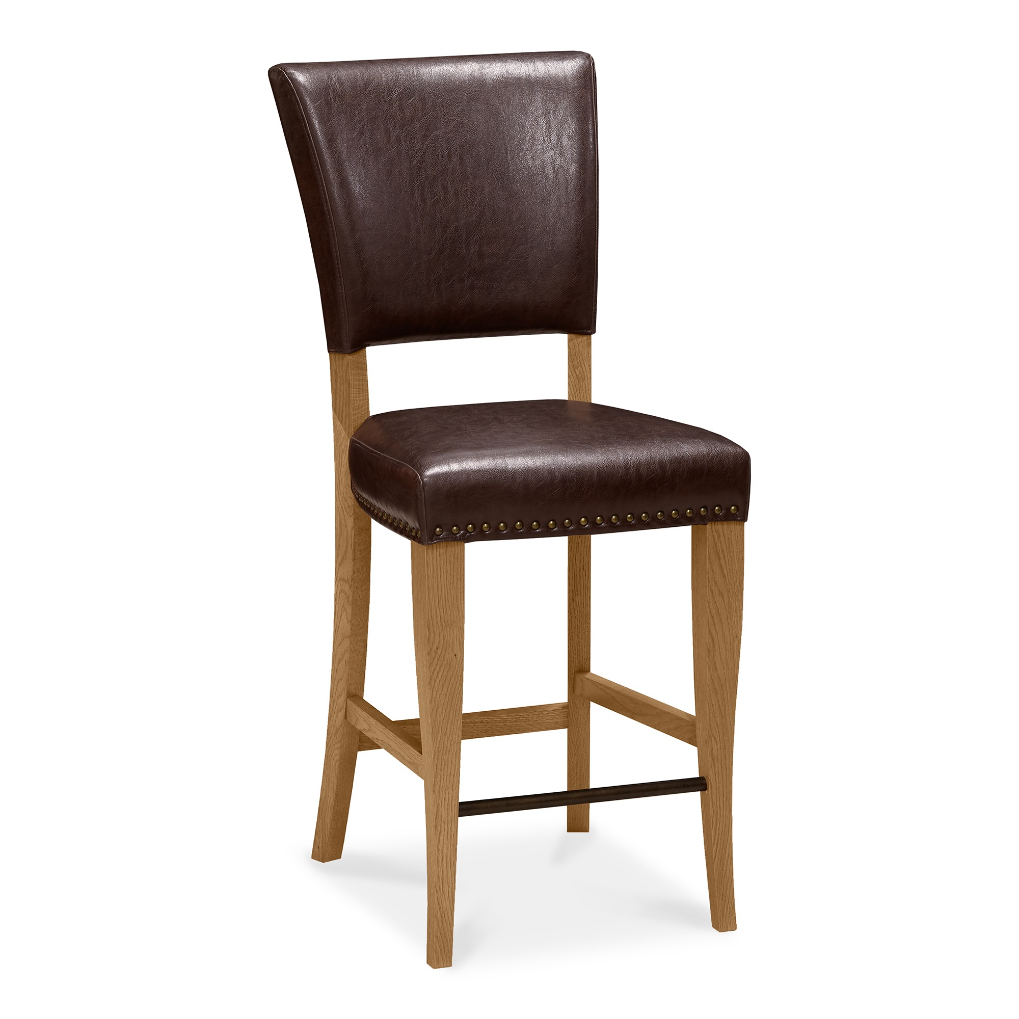 Lisbon Brown leather and oak bar stool