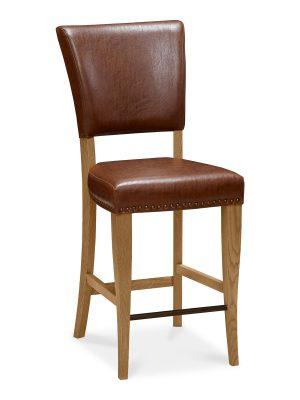 Lisbon Rustic Oak Bar stool in Tan Leather