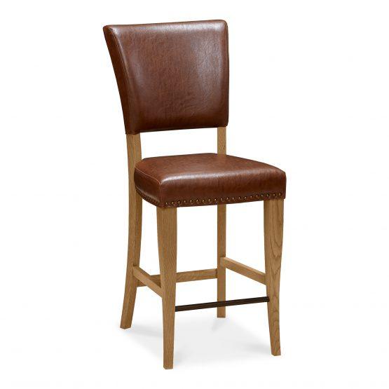 Lisbon tan leather oak bar stool