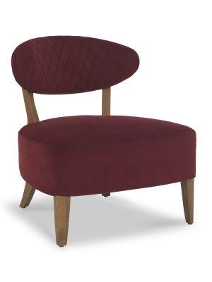 Sheraton Claret Red Velvet Retro Lounge Chair