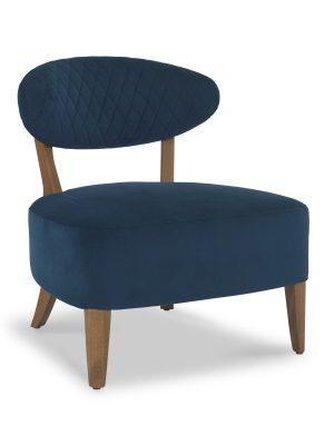 Sheraton Deep Blue Velvet Retro Lounge Chair