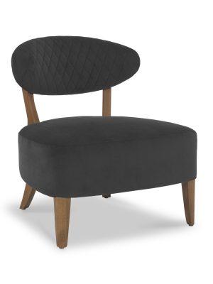 Sheraton Anthracite Grey Velvet Retro Lounge Chair
