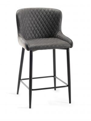 Sophia Dark Grey Leather Bar Stool - Black Frame