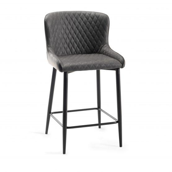 Sophia Grey leather modern bar stool