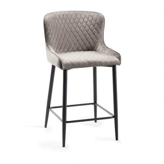 Sophia Grey velvet bar stool