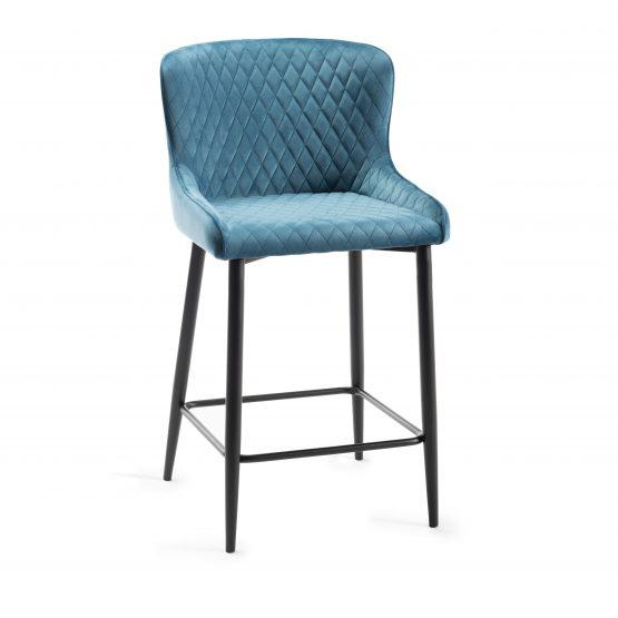 Sophia Blue velvet bar stool with black legs