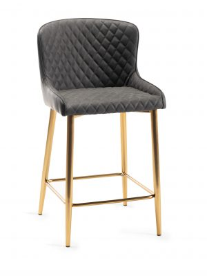 Sophia Dark Grey Leather Bar Stool - Gold Frame