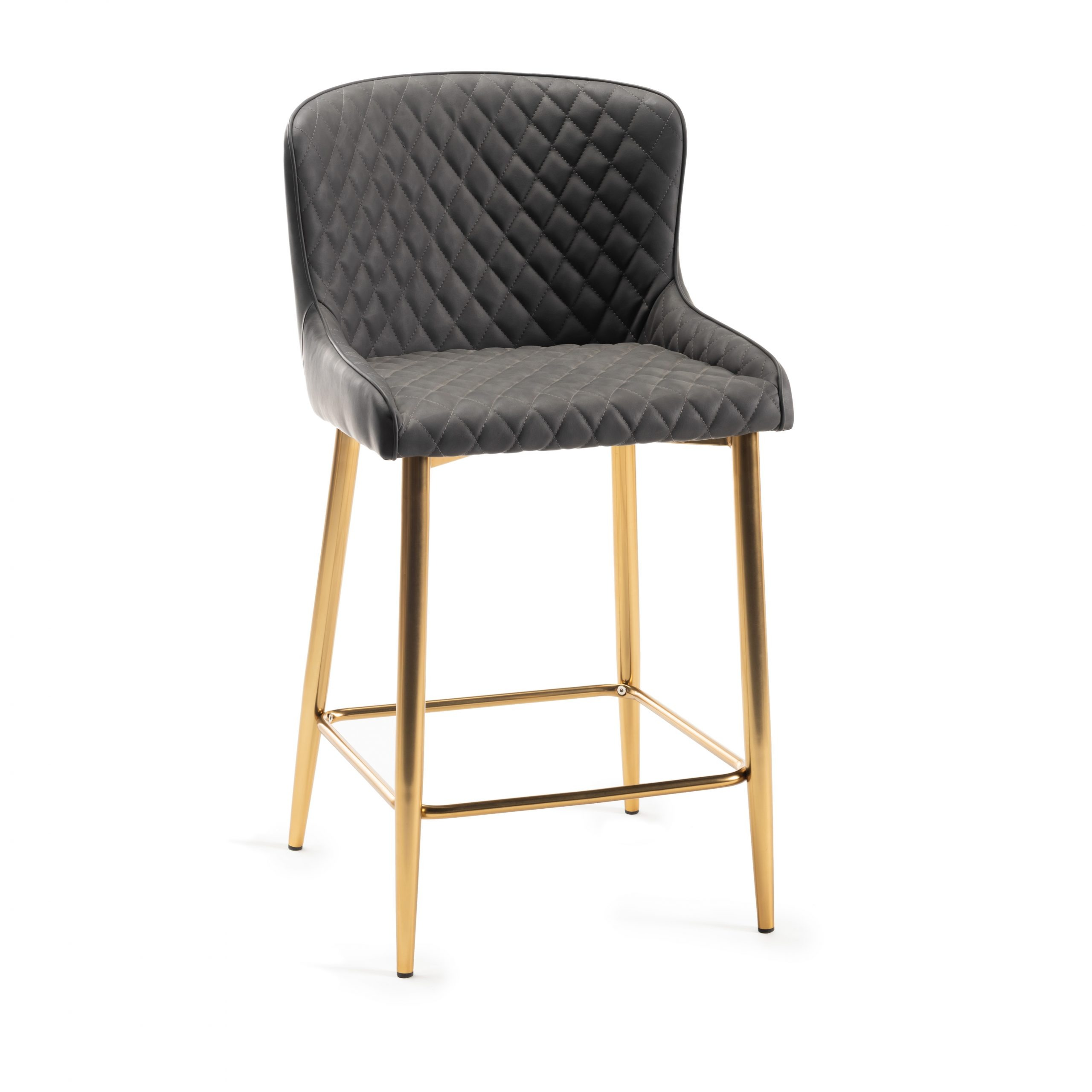Sophia Grey leather and gold bar stool