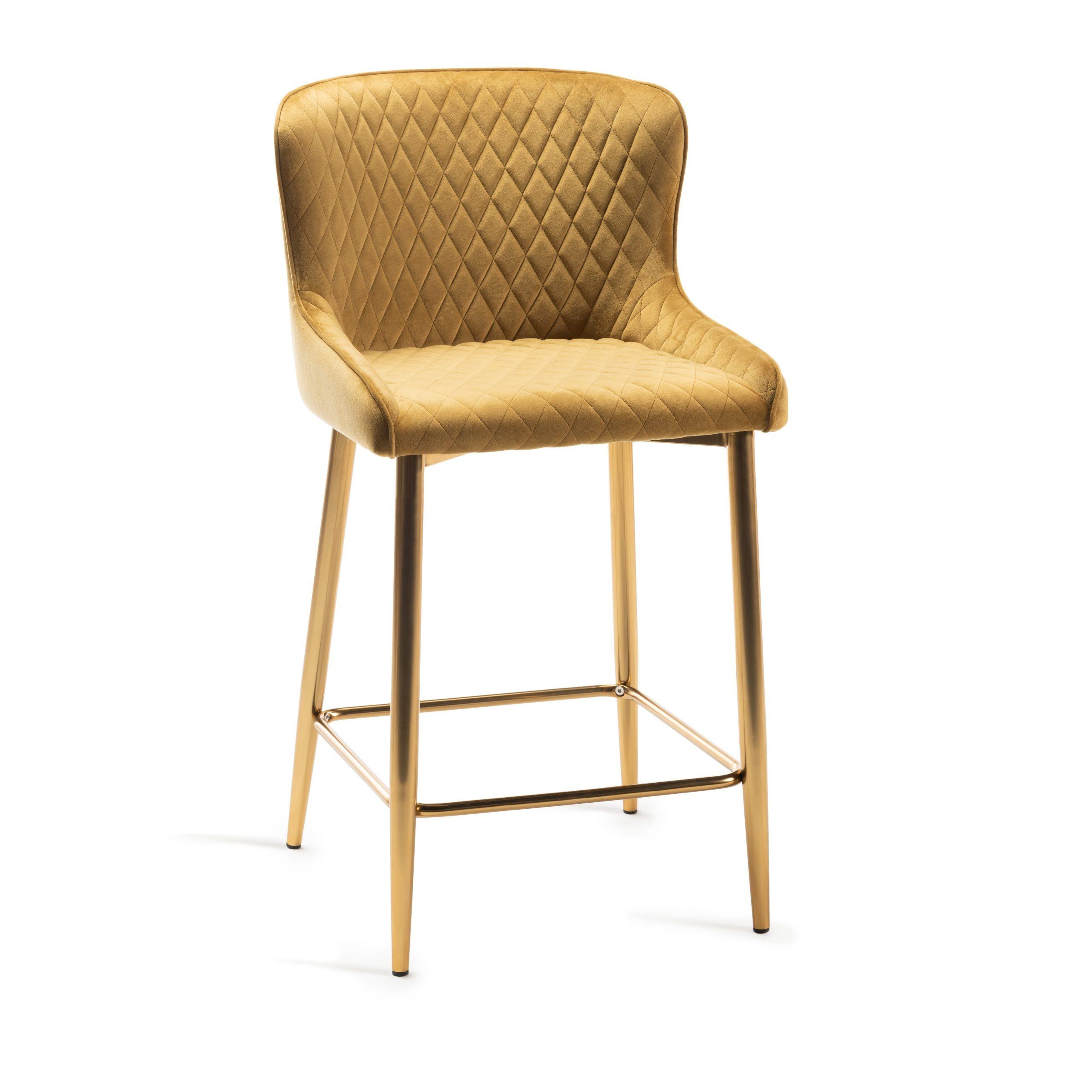 Sophia mustard velvet bar stool gold legs