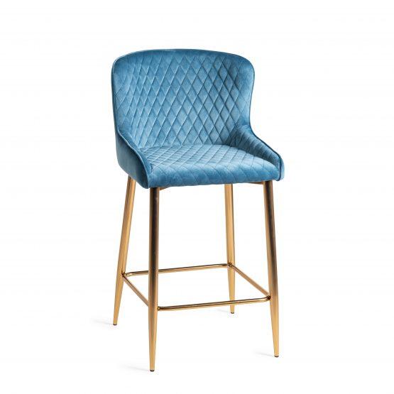 Sophia Blue velvet bar stool gold legs