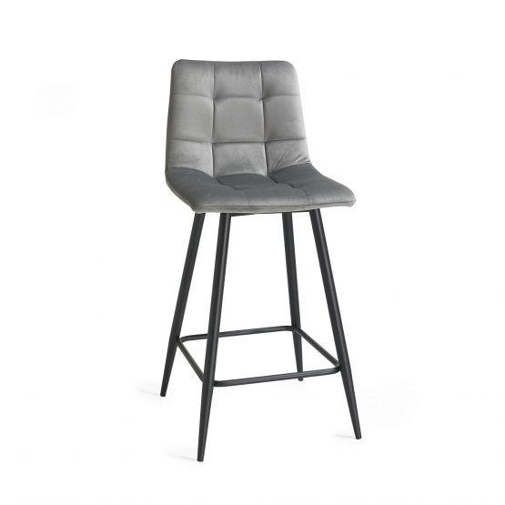 Oslo Grey velvet modern bar stool
