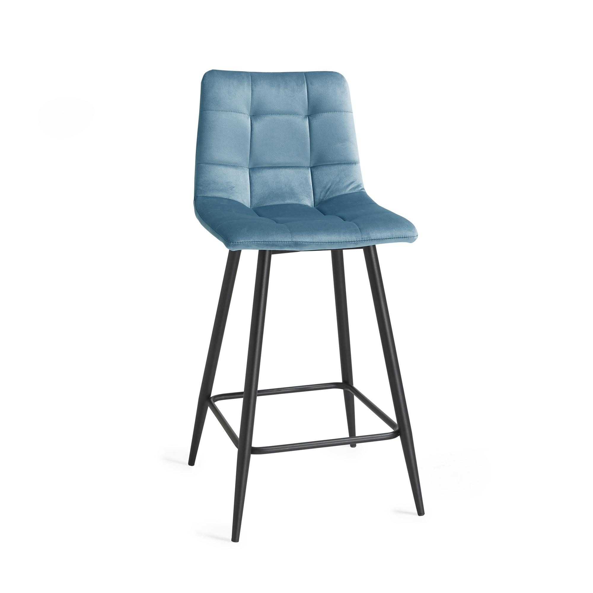 Oslo light blue velvet bar stool