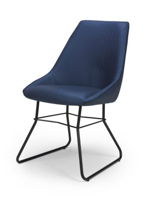 Hooper Blue Leather Contemporary Dining Chair