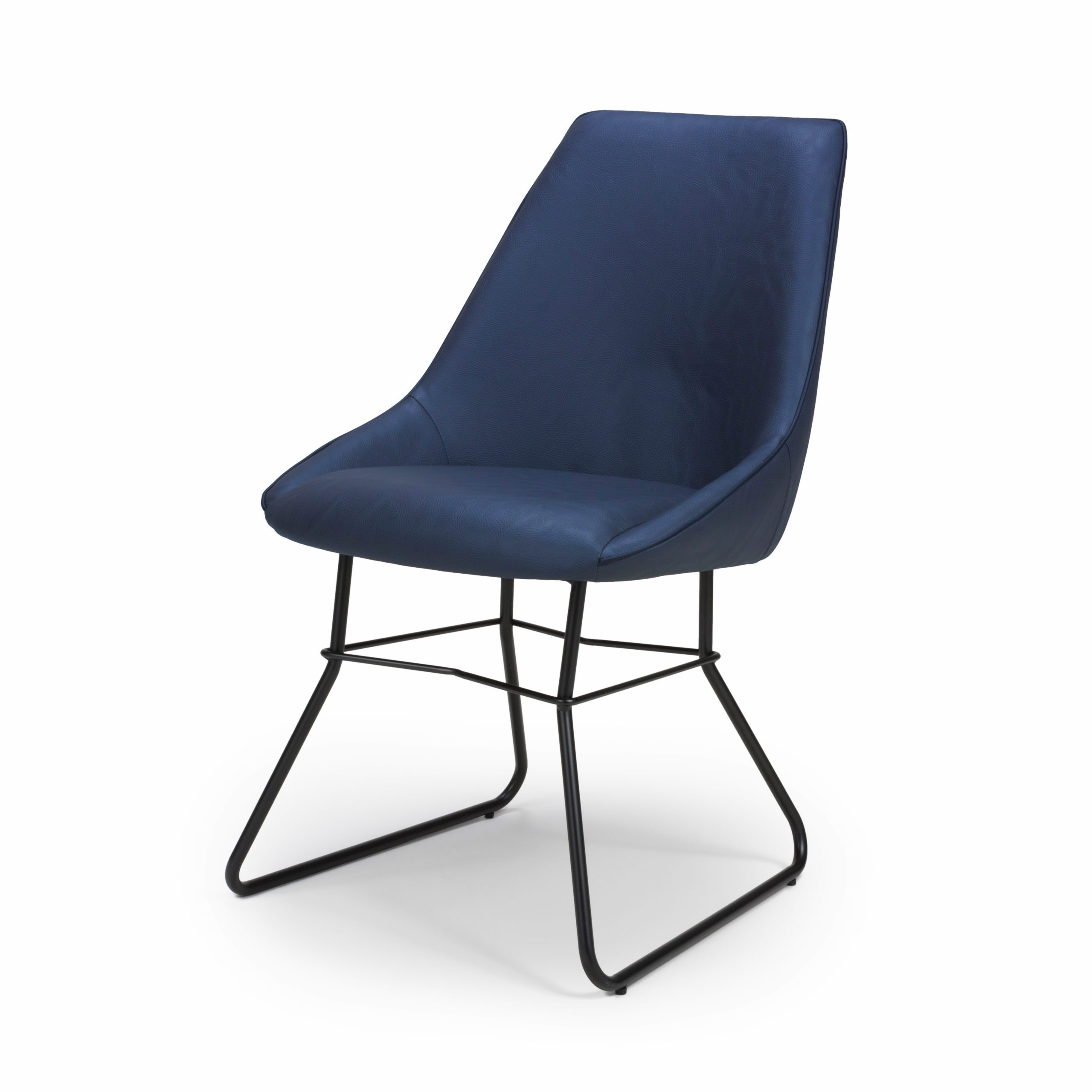 Hooper Blue leather dining chair