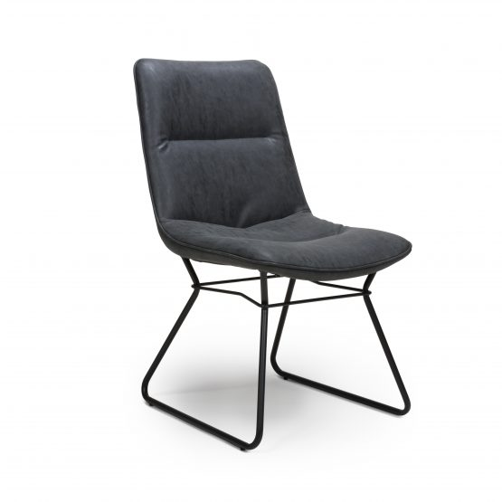 Exeter Wax Grey leather modern dining chair