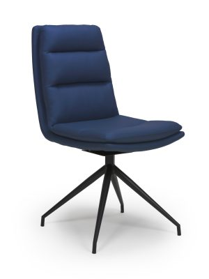 Dallas Blue Leather Contemporary Swivel Chair Leather - Black Legs